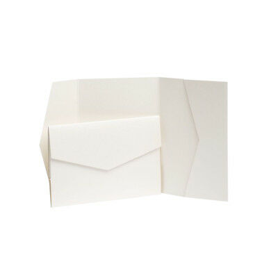 Pearl Pearlescent Pocketfold Invites with envelopes. Wedding card Pocket invites