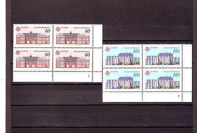 Germany/west - Sg2313-2314 Mnh 1990 Europa Post Office Buildings - Blocks Of 4