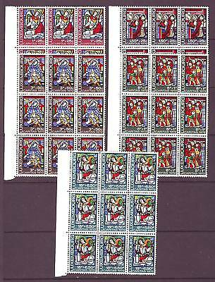 Luxembourg - Sg897-901 Mnh 1972 Stained Glass Windows - Blocks Of 9