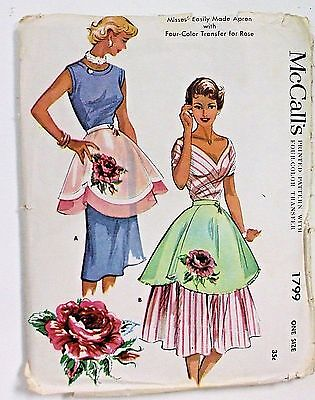 Vintage 50's McCall's Ladies Shaped Hem Apron Pattern 2 Styles w/Four Color Xfer