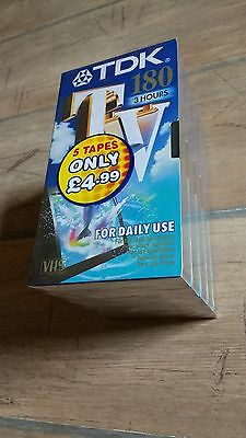 Sealed 5 Pack TDK TV 180 (3 Hours) VHS Video Tapes