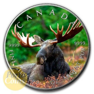 2016 Canada $5 Maple 1 oz Silver Moose Colorized Antique Coin NEW
