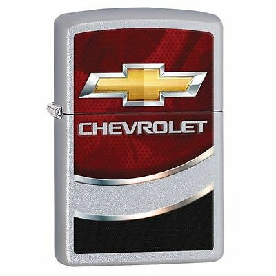 Zippo Windproof Lighter, Satin Chrome, Chevrolet Logo, Chevy, 29318, New In Box