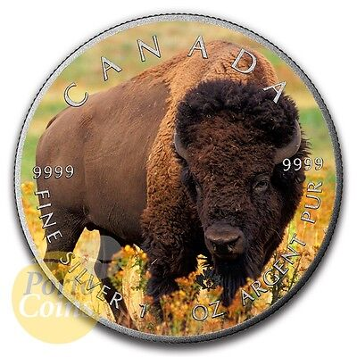 2016 Canada $5 Maple 1 oz Silver Bison Colorized Antique Coin NEW
