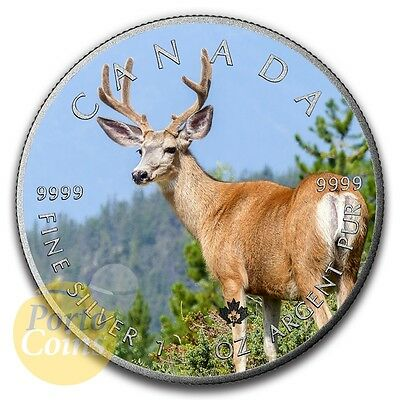 2016 Canada $5 Maple 1 oz Silver Elk Colorized Antique Coin NEW