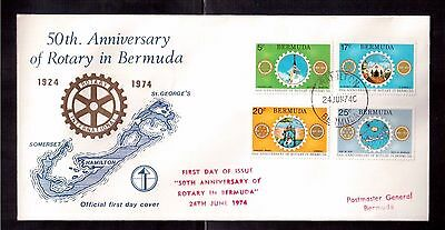 BERMUDA 1974 FIRST DAY COVER #308/11, 50th ANNIVERSARY OF ROTARY IN BERMUDA !!