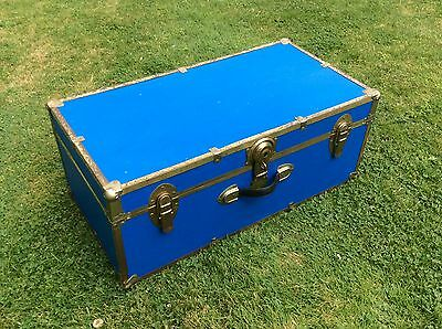 Vintage Blue Trunk Case Storage Chest Box Coffee Table