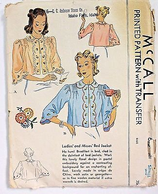 Vintage 30's McCall's Ladies Bed Jacket Pattern & Transfer Pattern Size 14-16
