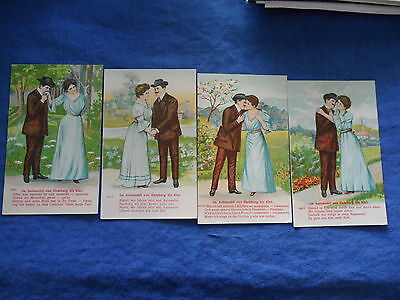 Antique 4 New Postcards Lovers Journey Travel Series Valentine Romance German