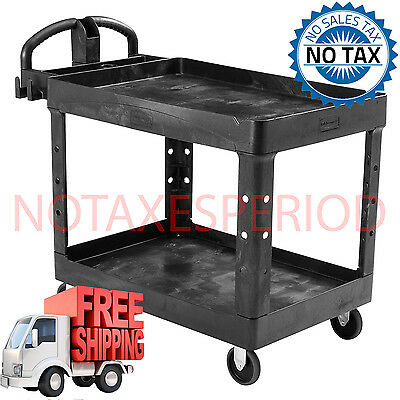 NO TAX! Rubbermaid Utility Cart Commercial 2 Shelf Cart Heavy Load Storage NEW.