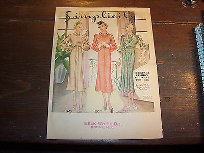 """""""SIMPLICITY"""" -  Dress Patterns -  1936 - Make Your Own Clothes -  Easy Sewing"""