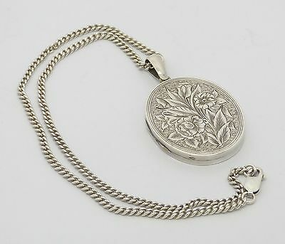 Gorgeous Edwardian Era Antique Solid Silver Locket & Chain Art Nouveau Pattern