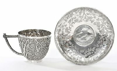 Late 19th Century Chinese Silver Repousse Tea Cup & Saucer Bird & Plum Tree Mk