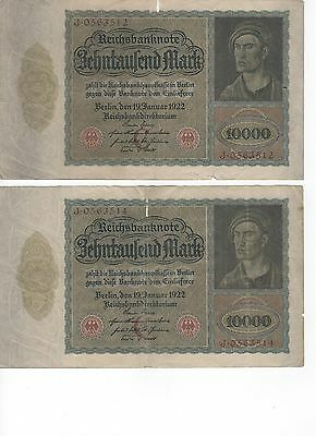 Early German Paper Money, 10000 Mark, Large Size, Very Rare!
