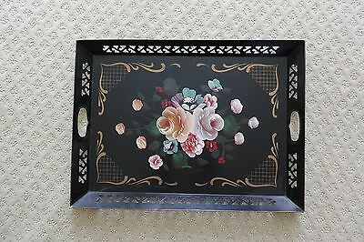 Vintage Large 16 x 21.5 Tole Painted Floral Motif Toleware Metal Tray