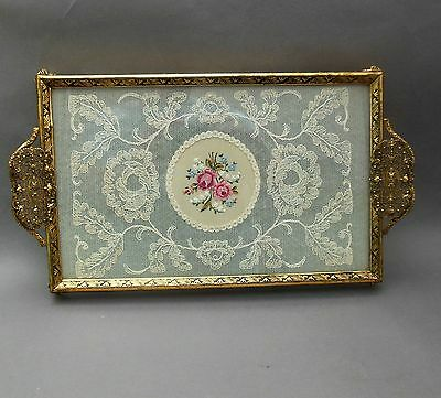 Vintage Petit Point Vanity TRAY ~ Embroidered Pink Rose Floral ~ Brass Filigree