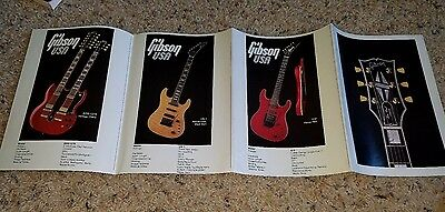 1980s Gibson guitar brochure folds to a poster