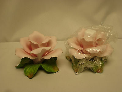 Avon Sculpted Porcelain Hand Painted Rose Candle Holders In Original Box