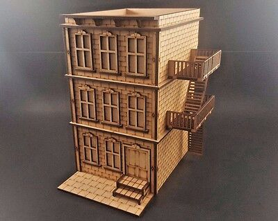 Greystone Building with Fire escape for Batman,  Malifaux MDF Terrain Mini Duels