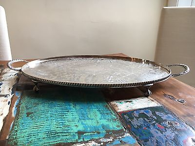 Exquisite Silver Plate Footed Serving Tray.