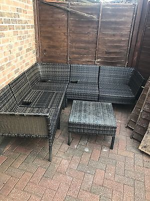 Rattan Garden Corner Sofa Set And Table