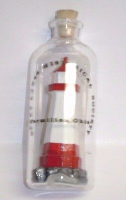 Lighthouse In A Glass Bottle Unique Souvenir From Vermillion, Ohio Historic
