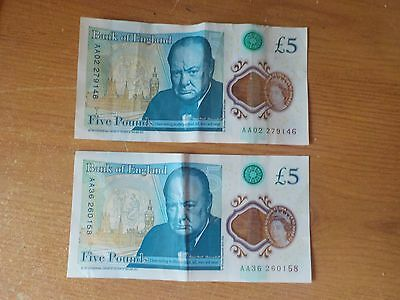 AA02 279146 and AA36 260158 Bank Of England Polymer genuine £5 Five Pound Notes