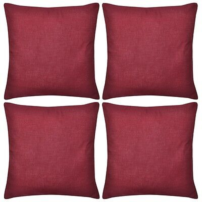 #4 Cushion Cover Pillow Case Cotton Fabric Burgundy Square Home Sofa Bed Decor