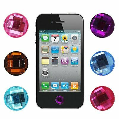 6 pieces Bling Diamond Crystal Style Home Button Sticker for Apple ipad iPo PF