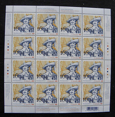 Canada Stamps 2044 French Settlement 49c Multi Mini Sheet Pane of 16 MNH