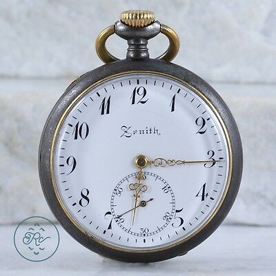 Vintage | ZENITH Open Face Wind Up Chronograph | Pocket Watch Mens