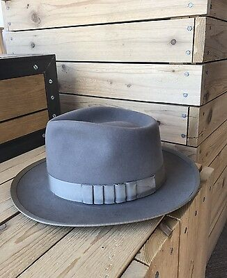 Mint Vintage 50s Adam Premier Aqua Shed Taupe Whippet Fedora 6 7/8 Shark Gill