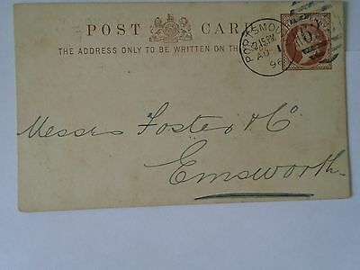 1896 Queen Victoria Halfpenny Postcard Postmarked Portsmouth