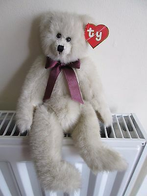"""""""Cassie"""" TY ATTIC TREASURE BEAR, 2nd Gen Hang Tag, Burgundy Ribbon, 11"""" Jointed."""