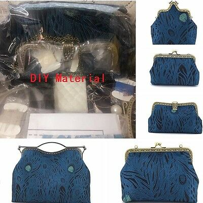 DIY Material Set Peacock Tail Pattern Fabric Kit For Bags Purse Handmade Crafts