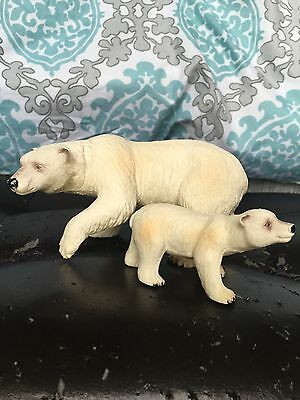 Bullyland Polar Bear Mother And Cub Handpainted From Germany