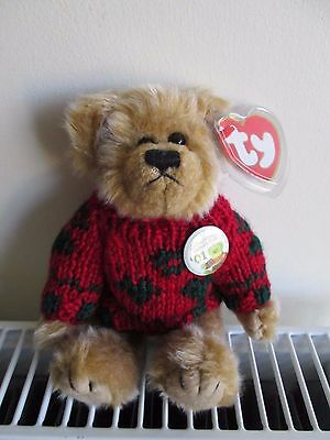 """TY ATTIC TREASURE BEAR """"BEARKHARDT"""" '01 Collectibles Convention Badge,Red Jumper"""
