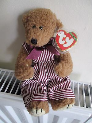 """""""DEXTER""""4th Gen TY ATTIC TREASURE BEAR,StrIped Dungarees Ribbon Rare Collectable"""