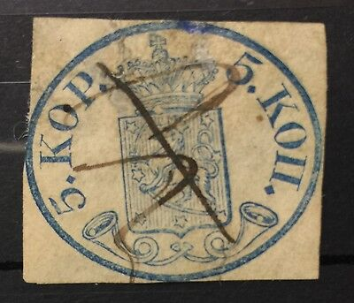1856 Finland Suomi #1 SG1 5 kop blue cut square with pen cancel £1800 rare