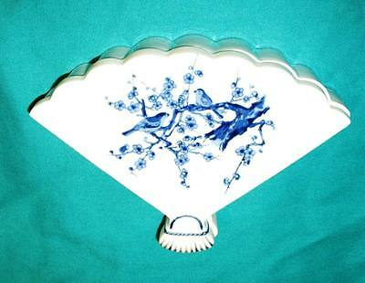 Fan shaped Blue/wht Bird design Porcelain ceramic covered dish- made in JAPAN