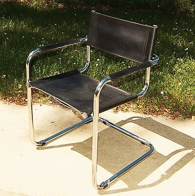 ORIGINAL Vintage MART STAM LEATHER CANTILEVER Mid-Century Modern Arm Chairs S-34
