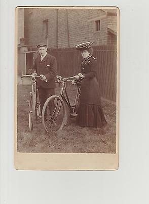 large CDV/Cabinet Photograph Victorian Lady & Gentleman With Bicycle c1890/1900