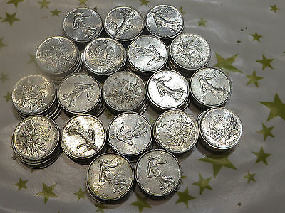 Grand Lot De 95 Pieces De 5 Francs Semeuse Argent