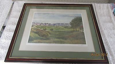 Signed Framed With Glass Print of The Sixteenth Championship Course Carnoustie