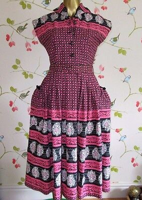 Superb Vintage 1950's Pink & Black Sleeveless Dress, Full Skirt, Pockets sz 8-10