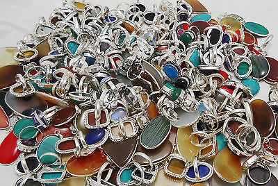 2000Gram Ring & Pendant Mix Gemstone Wholesale Lot 925 Sterling Silver Overlay