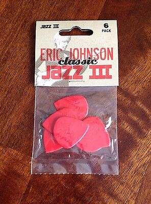New 6 pack Dunlop Eric Johnson Classic JAZZ III Guitar Picks, 1.38mm Red Nylon C