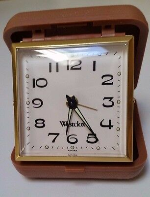 Vintage Westclox Wind-Up Travel Alarm Clock in Excellent Working Condition