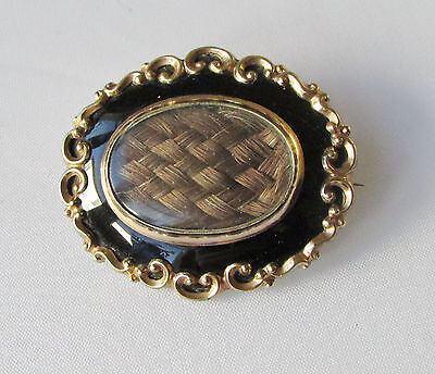 Old antique Victorian large gold-plated mourning brooch with woven hair