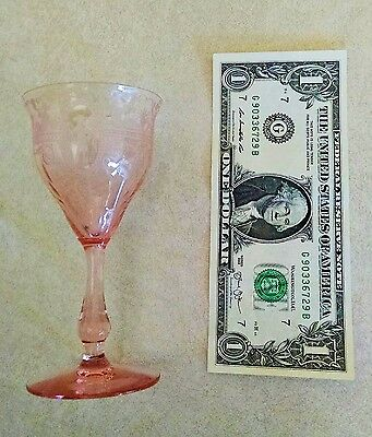 Heisey Bubble Girl Pink Etched Depression Wine Glass
